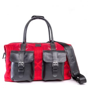 AGBAMAN RED HANDMADE DUFFLE BAG